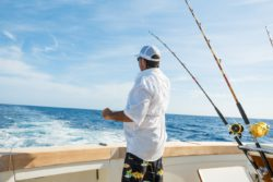 man on a fishing charter boat