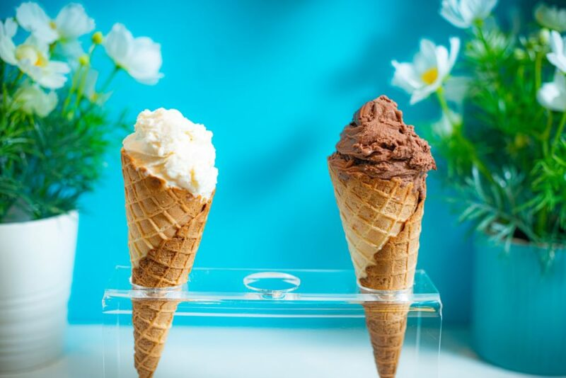 two ice cream cones in a holder